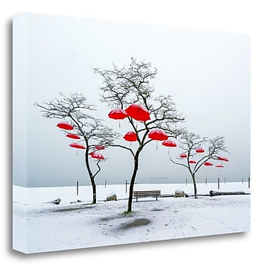 Tangletown Fine Art 'Red Umbrellas' Graphic Art Print on Wrapped Canvas; 17'' H x 26'' W