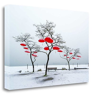 Tangletown Fine Art 'Red Umbrellas' Graphic Art Print on Wrapped Canvas; 24'' H x 37'' W