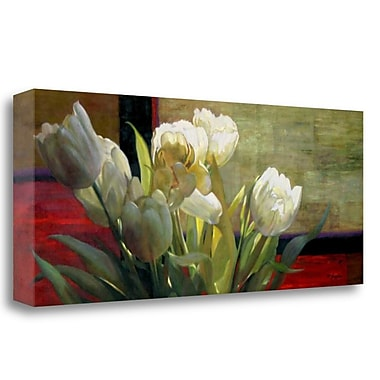 Tangletown Fine Art 'Tulips w/ Red' Graphic Art Print on Wrapped Canvas; 16'' H x 40'' W