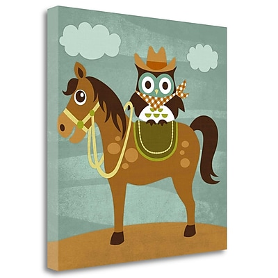 Tangletown Fine Art 'Cowboy Owl on Horse' Graphic Art Print on Wrapped Canvas; 24'' H x 24'' W
