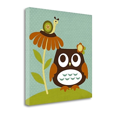 Tangletown Fine Art 'Owl Looking at Snail' Graphic Art Print on Wrapped Canvas; 24'' H x 24'' W
