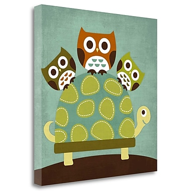 Tangletown Fine Art 'Three Owls on Turtle' Graphic Art Print on Wrapped Canvas; 25'' H x 25'' W