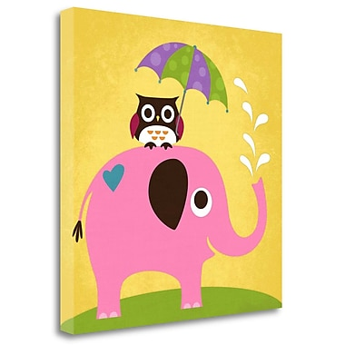 Tangletown Fine Art 'Elephant and Owl w/ Umbrella' Graphic Art Print on Wrapped Canvas