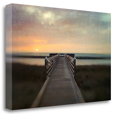 Tangletown Fine Art 'Sunset Pier' Photographic Print on Wrapped Canvas; 21'' H x 32'' W