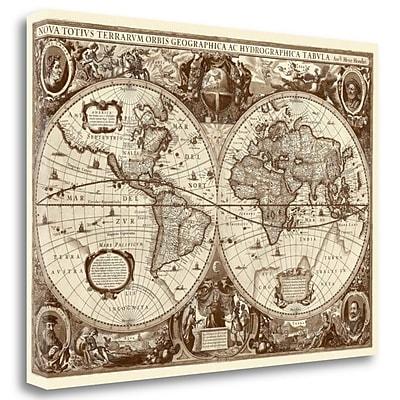 Tangletown Fine Art 'Nova Totius Terrarum Orbis Tabula' Graphic Art Print on Wrapped Canvas