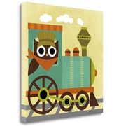 Tangletown Fine Art 'Owl Train Conductor' Graphic Art Print on Wrapped Canvas; 24'' H x 24'' W