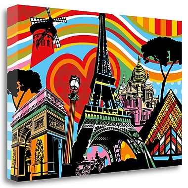 Tangletown Fine Art 'Paris lamour' Graphic Art Print on Wrapped Canvas; 23'' H x 34'' W