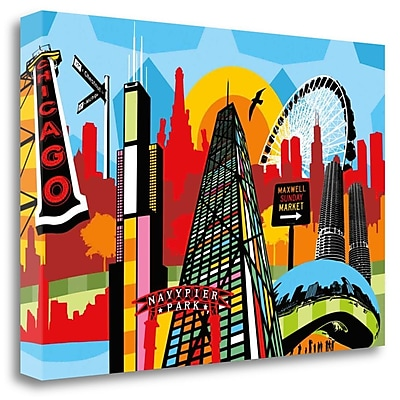 Tangletown Fine Art 'Chicago' Graphic Art Print on Wrapped Canvas; 32'' H x 48'' W