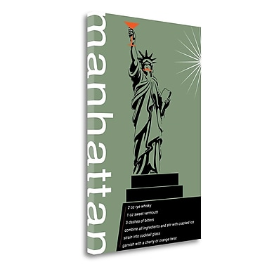 Tangletown Fine Art 'Manhattan Recipe' Graphic Art Print on Wrapped Canvas; 48'' H x 32'' W