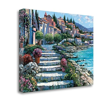 Tangletown Fine Art 'Steps of St. Tropez' Graphic Art Print on Wrapped Canvas; 17'' H x 23'' W