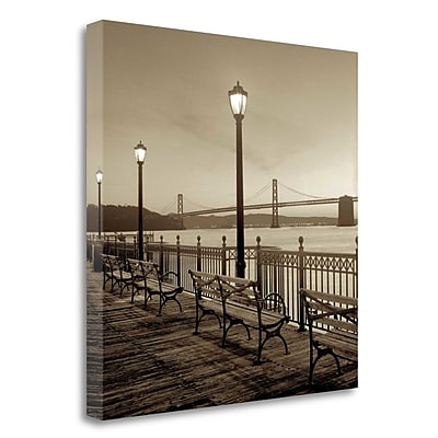 Tangletown Fine Art 'San Francisco Bay Bridge at Dusk' Photographic Print on Wrapped Canvas