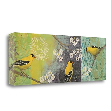 Tangletown Fine Art 'Goldfinches Blooming' Graphic Art Print on Wrapped Canvas; 14'' H x 40'' W