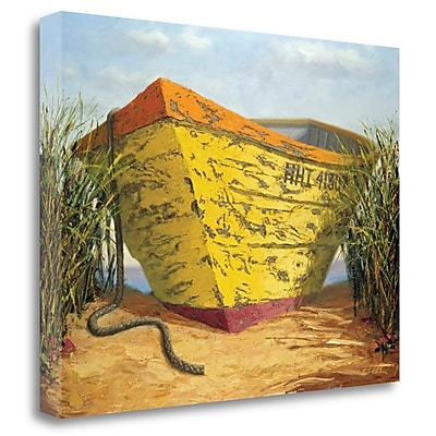 Tangletown Fine Art 'Yellow and Orange Rowboat' Graphic Art Print on Wrapped Canvas; 28'' H x 36'' W