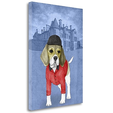 Tangletown Fine Art 'Beagle w/ Beaulieu Palace' Graphic Art Print on Wrapped Canvas; 28'' H x 20'' W