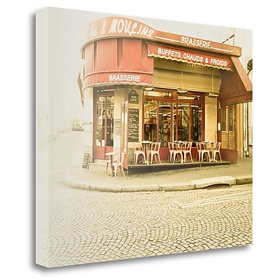Tangletown Fine Art 'Paris Brasserie' Photographic Print on Wrapped Canvas; 26'' H x 32'' W