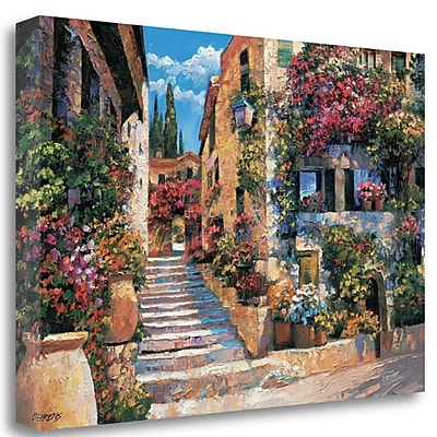 Tangletown Fine Art 'Riviera Stairs' Graphic Art Print on Wrapped Canvas; 32'' H x 48'' W