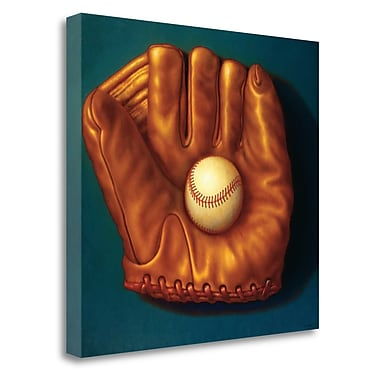 Tangletown Fine Art 'Baseball Mitt I' Graphic Art Print on Wrapped Canvas; 35'' H x 38'' W