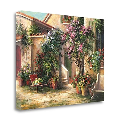 Tangletown Fine Art 'Garden Courtyard' Graphic Art Print on Wrapped Canvas; 28'' H x 38'' W