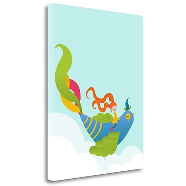 Tangletown Fine Art 'Bird and Girl' Graphic Art Print on Wrapped Canvas; 28'' H x 22'' W