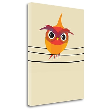 Tangletown Fine Art 'Owl on a Wire' Graphic Art Print on Wrapped Canvas; 32'' H x 25'' W