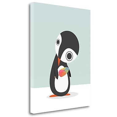 Tangletown Fine Art 'Pingu Loves Ice Cream' Graphic Art Print on Wrapped Canvas; 40'' H x 31'' W
