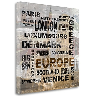 Tangletown Fine Art 'Europe' Textual Art on Wrapped Canvas; 35'' H x 35'' W