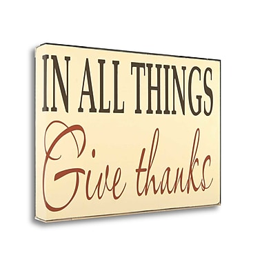 Tangletown Fine Art 'Give Thanks' Textual Art on Wrapped Canvas; 15'' H x 24'' W