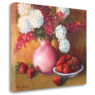 Tangletown Fine Art 'Pink Vase and Strawberries' Print on Wrapped Canvas; 22'' H x 28'' W
