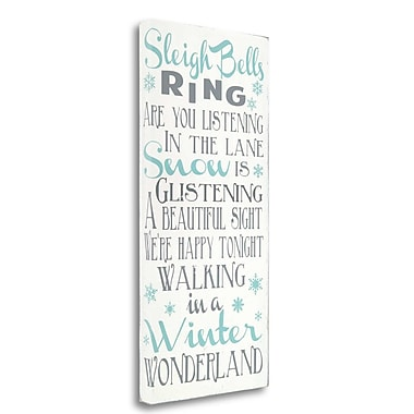 Tangletown Fine Art 'Sleigh Bells Ring' Textual Art on Wrapped Canvas; 39'' H x 18'' W