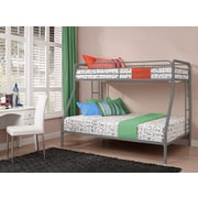 DHP Twin Over Twin Bunk Bed, Silver, Curved Bars (5418096)