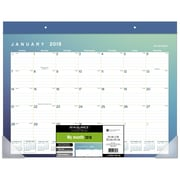 AT-A-GLANCE® – Grand calendrier sous-mains 2018 Aurora, 22 po x 17 po, bleu