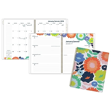 AT-A-GLANCE® 2018 Flower Pop Professional Weekly/Monthly Planner Large, 9-1/4