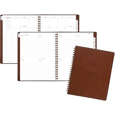 AT-A-GLANCE® – Agenda hebdomadaire Yo Pro 2018 à reliure de fil, grand, couverture similicuir brun, anglais