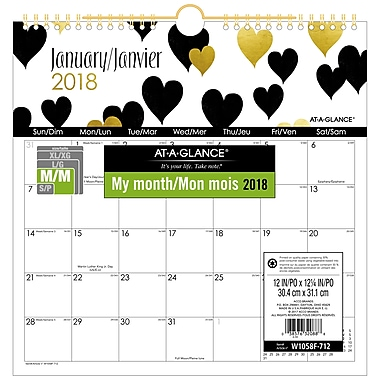 AT-A-GLANCE® 2018 Love Letters Deco Hanging Wall Calendar, 12