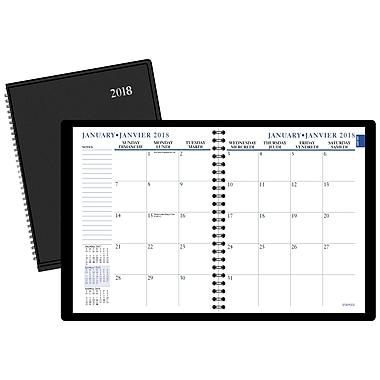 Staples® – Agenda mensuel 2018, 7 1/2 po x 9 po, noir, bilingue