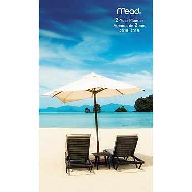 Mead® 2018-2019 Two-Year Pocket Monthly Planner, Tropical Design , Bilingual