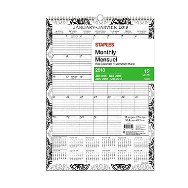 Staples® 2018 Floral Wall Calendar Monthly, 12