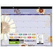 "Mead® 2018 Floral Design Recycled Desk Pad Calendar, 22"" x 17"""