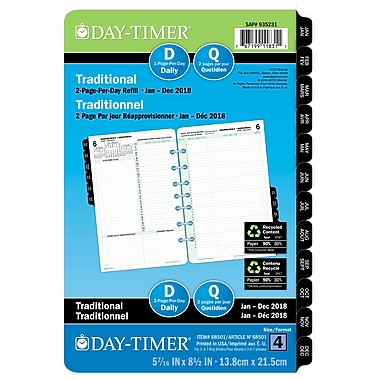 Day-Timer® 2018 Dated Desk Planner Refills, 5-1/2