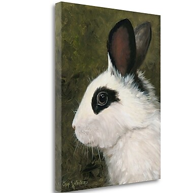 Tangletown Fine Art 'Black and White Rabbit' Print on Wrapped Canvas; 24'' H x 19'' W