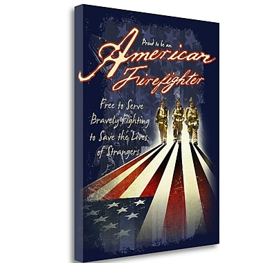 Tangletown Fine Art 'American Firefighters' Graphic Art Print on Wrapped Canvas; 23'' H x 19'' W