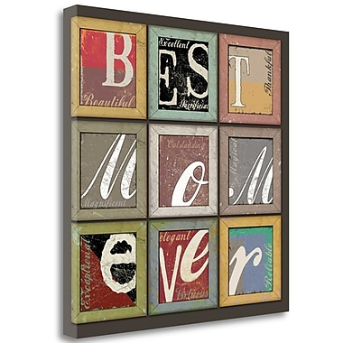 Tangletown Fine Art 'Best Mom Ever' Textual Art on Wrapped Canvas; 19'' H x 19'' W