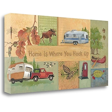 Tangletown Fine Art 'Home is Where You Hook Up' Graphic Art Print on Wrapped Canvas; 14'' H x 28'' W