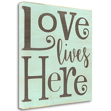 Tangletown Fine Art 'Love Lives Here - Blue' Textual Art on Wrapped Canvas; 20'' H x 20'' W