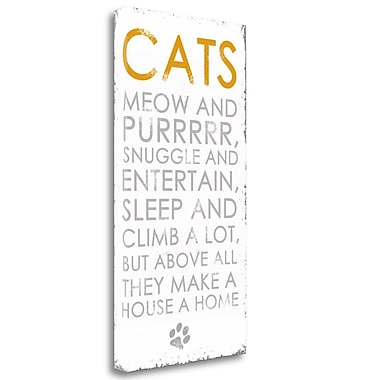 Tangletown Fine Art 'Cats' Textual Art on Wrapped Canvas; 29'' H x 15'' W