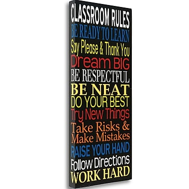 Tangletown Fine Art 'Classroom Rules' Textual Art on Wrapped Canvas; 48'' H x 22'' W