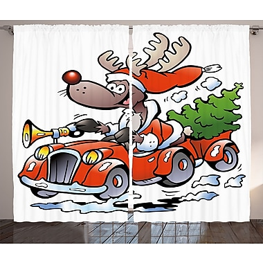 Christmas Reindeer Racing Graphic Print Room Darkening Rod Pocket Curtain Panels (Set of 2)