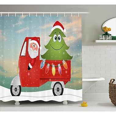 The Holiday Aisle Christmas Santa on the Car Shower Curtain; 69'' H x 75'' W