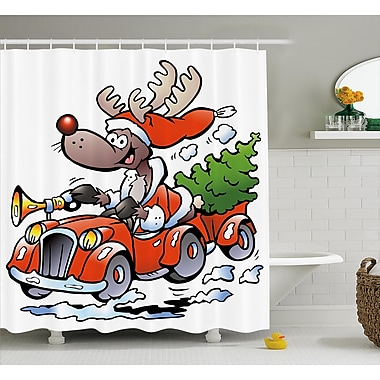 The Holiday Aisle Christmas Reindeer Racing Shower Curtain; 69'' H x 75'' W