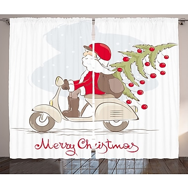 Christmas Santa on Motor Bike Graphic Print Room Darkening Rod Pocket Curtain Panels (Set of 2)